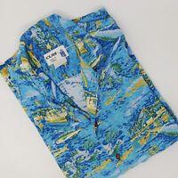 Iolani Hawaiian Shirt Men 2XL Rayon Harbor Aloha Hawaii Sailboat Whale Fish