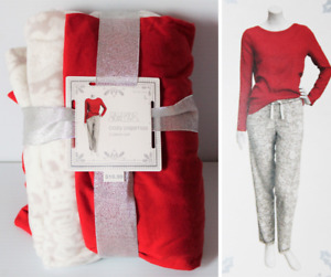 NEW Gilligan & O'Malley Cozy Pajamas Set Large Red Knit Top & Gray Fleece Pants