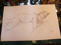 Fusain Nu de Femme par André Simon 1926-2014 2004 Artiste Lorrain