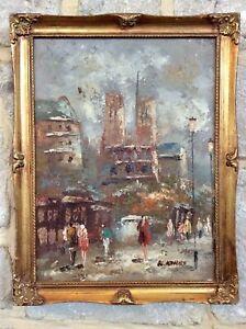 Genuine 1900s Signed Oil Painting,Impressionist City,PARIS,Old Ornate Gilt Frame