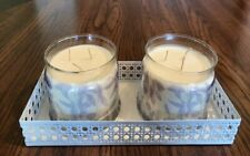 WHITE PIERCED METAL DOUBLE JAR OR PILLAR HOLDER TRAY PARTYLITE DECOR NEW IN BOX
