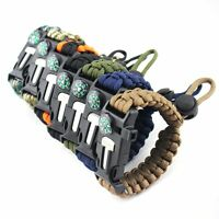 Outdoor Paracord Survival Bracelet Compass Flint Whistle Camping Hiking Tool Kit
