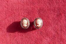 Boucles d'oreilles pince clip's CAMÉ et MARCASSITE très bon état French jewel.