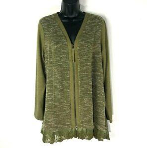 Logo Lori Goldstein Lounge L Olive Green lace edge knit Zipper Cardigan A282144