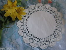 """VTG 6"""" OFF WHITE IVORY CAMBRIDGE FANCY SCROLL WEDDING LACE DOILIES 25 PCS CRAFTS"""