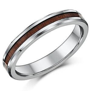 4mm Damen Titan Hochzeit Ring Original Holz Maserung Intarsie Ehering