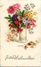 uralte AK, Fröhliche Weihnachten, bunter Weihnachtsstrauß mit Blumen und Zweigen