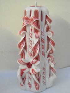 Red & White Hand Carved sculptured candle