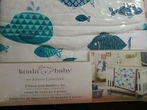Koala Baby All Ashore Collection 3 piece Crib Bedding Set Quilt Sheet Dust Ruffl