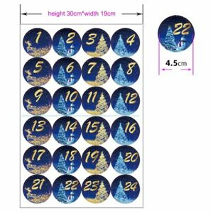 24Pcs/set Merry Christmas Advent Cookie Candy Diy Gift Packaging Label Stickers