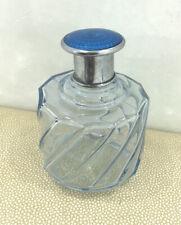 Vintage Art Deco Blue Guilloche Perfume Bottle ,Lotion Bottle