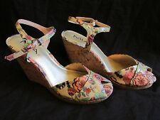 Women's Mia Multi-Color LILI Floral Peep Toe Cork Wedge Strappy Sandals Size 8