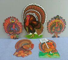 Vintage Lot 5 Beistle Hallmark Turkey Die Cut Thanksgiving Decorations