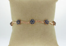Natural Blue Sapphires 5.60TCW Solid 14K Yellow Gold Bracelet 7""