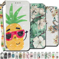 3D Flip Stand Wallet Case Cover Protective Card Slot PU Leather Fashion Strap