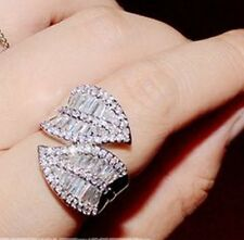 7.5 DRESS RING 18kt WG-FILLED AAA CLEAR CZ baguette & round cut WRAP LEAF DESIGN