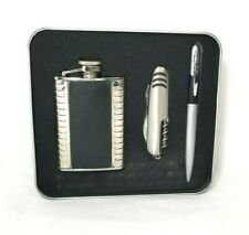 Men's Stainless Steel Flask Knife and Pen Gift Set, New In Case, Silver & Black
