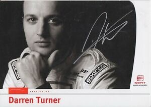 Darren Turner Hand Signed Seat Promo Card - Touring Cars Autograph.