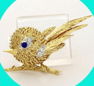".25CT FVS diamond sapphire canary bird brooch pin 18K tt/gold rd brilliant 2.25"""