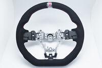 D-Shape Whole Alcantara W/Red Stripe Steering Wheel for 15-20 SUBARU WRX STI