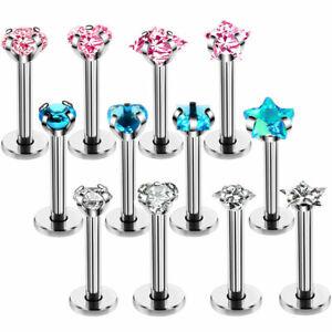 Cartilage Labret Monroe Lip Bar Tragus Helix Ear Ring Stud Nose Hoop Ring Bar UK