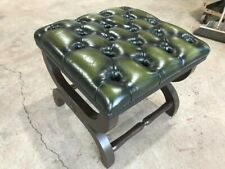 Antique Green Leather Chesterfield Footstool  🇬🇧