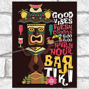 TIKI BAR GOOD VIBES Metal Signs Garden Pub Holiday Sun Man Cave Wall Plaque Sign