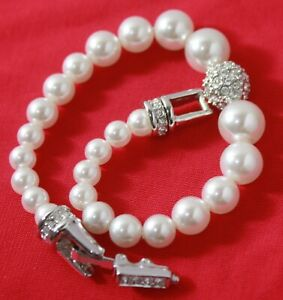 """Authentic Signed SWAROVSKI Faux Pearls Clear Crystals Bracelet 7.5"""""""