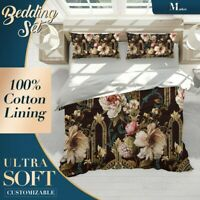 Peony Arch Floral Flowers Dark Quilt Cover Doona Duvet Cover w 2 Pillowcases