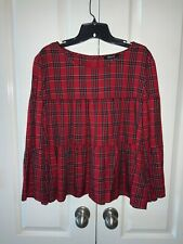 NWT Madewell Plaid Tiered Button- Back Top Bell Sleeves H3271 Tartan Plaid XL