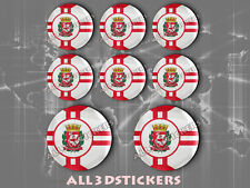 8 x 3D ROUND Stickers Resin Domed Flag São Paulo - Adhesive Decal Vinyl