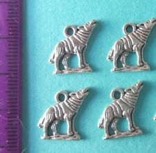BULK 30 Wolf charms antique silver tone A957