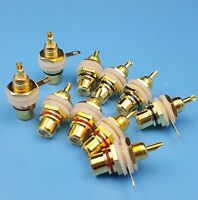 10pcs Brass Amplifier Audio RCA Female Jack Socket Chassis Panel Mount.Connector