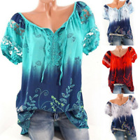 Women Floral V Neck Blouse Loose Baggy Tops Tunic T Shirts Holiday Tee Plus Size
