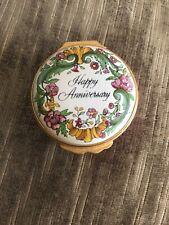 Halcyon Days Enamel Trinket Box England Happy Anniversary