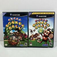 Super Monkey Ball 1 & Super Monkey Ball 2 (Nintendo GameCube, 2002) CIB Tested !