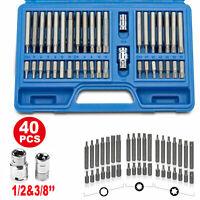 "40x Hex Torx Star & Spline BIT Socket Set 3/8 1/2""dr Long Short Reach Allen Key"