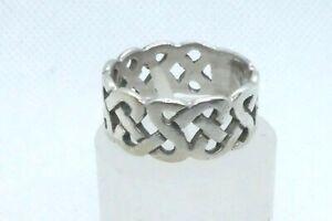 Vintage Celtic Knot Sterling Silver Band Wedding Size P