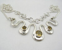 Sterling Silver Women Fashion Jewelry Faceted Citrine Chain Necklace