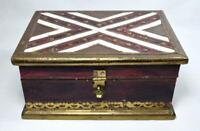 Vintage Indian Box/Casket Brass Inlaid Wood