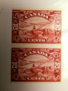 CANADA #157a IMPERFORATE PAIR MARGIN CLOSE AT RIGHT NGAI $375.00