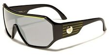 Retro Oversized Wrap Biohazard Shield Mens Fashion Sunglasses