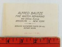 Vintage Alfred Bautze Fine Watch Repair Brooklyn New York Business Card