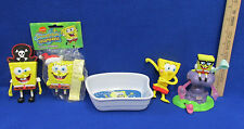 Plastic SpongeBob Squarepants Toy Figurines Ornament & Dish Lot of 5