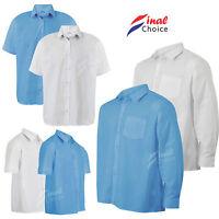 Mens Boys Kids Adults Long & Short Sleeve School Uniform White & Blue Shirts Σ