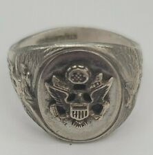 VINTAGE Sterling Silver Men's Military Ring Size 12