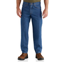 Carhartt Men's Size 32 x 38 Relaxed Fit Flat Front Tapered Leg Work Wear Jeans