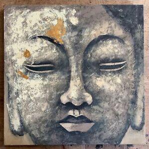 Buddha Face Oil Painting Canvas Abstract Contemporary Modern Art Original Greys