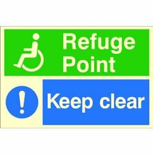 Refuge Point Keep Clear Sign 300mm x 200mm Glow In The Dark Photoluminescent