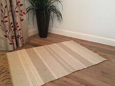 ❤️Grey Tones Chunky Stripe Cotton & Jute Rug Fringed 60 x 90cm Small Flat Weave
